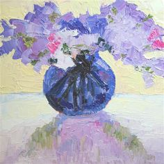 "Original oil painting ""Sweet Peas In Cobalt Blue"" by Roxanne Steed, 8""x8"" on sale for 256 dollars thru Sunday (normally 356 dollars) @ UGallery.com"