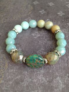 Beachy Shabby Chic Semi Precious Stone Stretch Stacker Bracelet with Amazonite, blue green, czech and rhinestones by funkyouaccessories, $38.00
