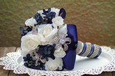 SALE... Ivory White and Blue rose and hydrangea by jcmartanddesign, $85.00