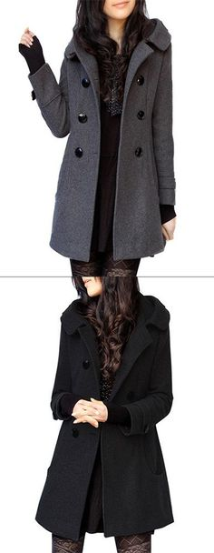 Women's Casual/Daily Simple Solid Hooded Long Sleeve Winter Coat