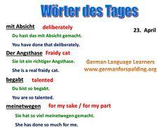 Wörter des Tages German Resources, Deutsch Language, German Language Learning, German Words, Learn German, Languages, Conversation, English, Teaching