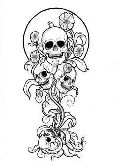 Thrive of Death is part of Skull coloring pages - Black and White Version Thrive of Death Skull Coloring Pages, Printable Adult Coloring Pages, Coloring Pages To Print, Colouring Pages, Coloring Books, Tattoo Coloring Book, 1 Tattoo, Yakuza Tattoo, Art Tattoos