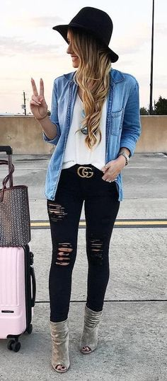 Ripped jeans   white top   denim jacket