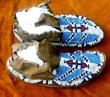 Vintage Antique 1880's Sioux Native American Indian Artifact Beaded Moccasins