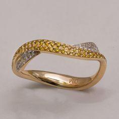 Waves No.3 - 14K Gold Diamonds Ring , Unique Engagement Ring, Engagement Band , Wedding Ring , Wedding Band , Yellow Diamonds, Wave Ring