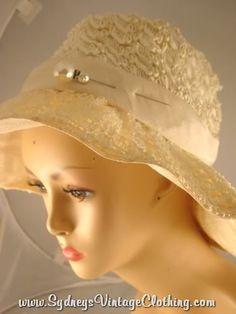 Wide Brim Straw Vintage Hat- very 'Birdsong'
