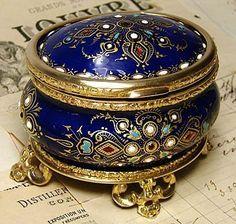 Cobalt Blue, jeweled and enameled box