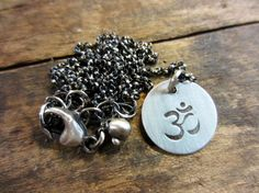 Oxidized Sterling Silver Handstamped Om by ChrissyGemmillJewels