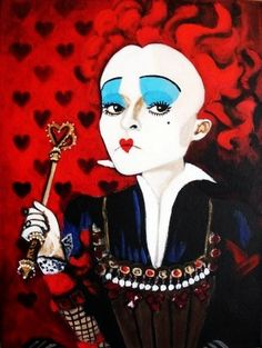 Queen of hearts - Alice in Wonderland  Painting by my talented friend, South African artist, Jacqui Simpson www.thepaintingcave.com