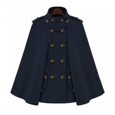 Turtle Neck Solid Color Double-Breasted Cloak Style Design Coat, DEEP BLUE, XL in Jackets & Coats | DressLily.com