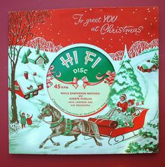1950's Christmas Card with Record inside. Jack Laroque & His Orchestra - While Shepherds Watched & Adeste Fideles