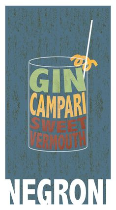 Negroni Gin Campari Cocktail Poster Bar and by FigandMelonPress