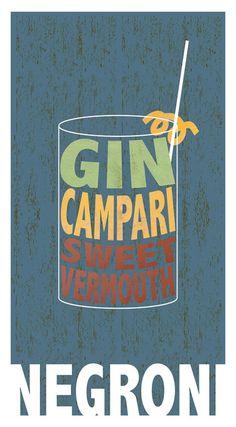 Poster Design Cocktail Poster Bar Art Kitchen Art Negroni Gin Poster
