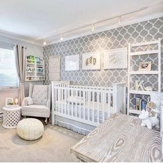 """Pretty! We love this stenciled wall in this darling, gender neutral nursery. Thanks for sharing with us, @Mahal219. Want to be featured? Tag…"" Liapela.com"