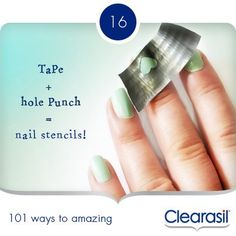 What a clever and simple way to do a nail art stencil | From Clearasil UK Facebook