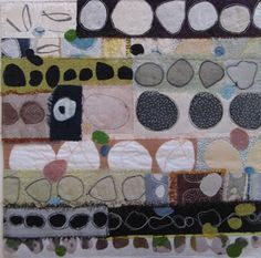 """Quilt by Elizabeth Brimelow. """"The inspiration for my work is landscape and man's mark on it. I am very aware of earlier cultures and times and how man has left behind evidence of his presence. Disclose, lay open, reveal, discover and uncover are key words and have influenced my textile techniques. I stitch and manipulate cloth, which I use for its tactile quality, its substance and its intimacy."""""""