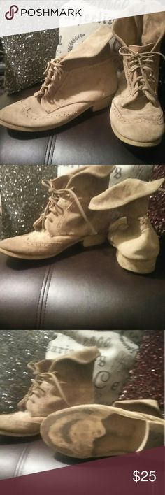 Zara suede fold over booties. Sz 39 In good condition. Suede and duckie imprinted:). Soles have normal wear.  Open to trades. Zara Shoes