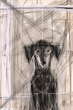 "Jose Carlos Lollo: ""Lola, my dog, in Giacometti style."" (This may be how my dog, Frida, is feeling today, after several prolonged seizure episodes early in the morning.)"