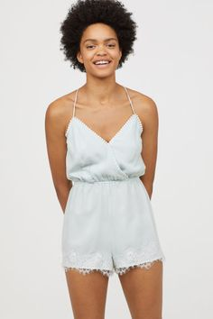 Jumpsuit in woven fabric with decorative pompom trim. Wrapover front with concealed snap fastener, narrow, adjustable shoulder straps crossed at Short Legs, H&m Online, Overall, Playsuit, Woven Fabric, Mint Green, Lace Trim, Fashion Online, Kids Fashion