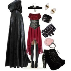 blood witch by risaisafox on Polyvore featuring Boohoo, Pamela Mann, Truffle, Yves Saint Laurent and Better Late Than Never