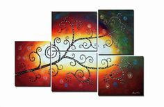 "Tree Oil Painting - Wall art finished in the USA. Dimensions (H x W): 44"" x 68"". Canvas oil painting. Gallery wrapped canvas art comes ready to hang. 5 Panels: 20"" x 24"" each."
