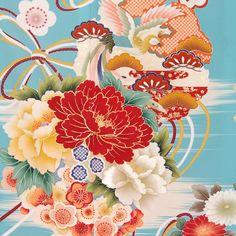 ◆振袖レンタルフルセット【R439】水色牡丹と雪輪に鳳凰と花(振/HL)身長150~170cm〔結婚式卒業式パーティーに〕