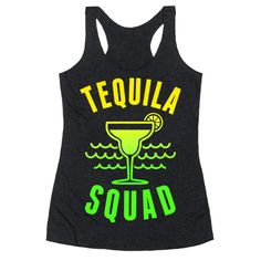 """This funny spring break shirts is great for all tequila, margarita, beach and sun lovers who are in the """"Tequila Squad."""" This drinking shirt is perfect for fans of tequila shirts, spring break jokes, funny drinking, drinking jokes and tequila lovers. Be on vacation forever and reach those squad goals in this funny tequila beach tank top."""