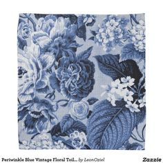 Periwinkle Blue Vintage Floral Toile Fabric No.1