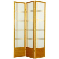 Oriental Furniture Double Cross Shoji Screen Room Divider - 84 inch Walnut - SS-84-DC-WALNUT-3_PANEL