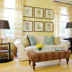 30 Awesome Yellow Living Room Color Schemes That People Never Seen - Barthram News Yellow Walls Living Room, Cottage Living Rooms, Living Room Color Schemes, Living Room Colors, New Living Room, Living Room Designs, Yellow Rooms, Pale Yellow Walls, Cozy Living