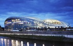 The Aviva Stadium. Not bad for curved design! Bobsleigh, Rugby, Soccer Stadium, Football Stadiums, Futuristic Architecture, Amazing Architecture, Creative Architecture, Stadium Architecture, Architecture Board