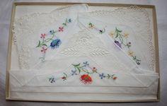 Vintage Handkerchief Set of Three New in by ilovevintagestuff
