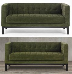 This Green Tuxedo Loveseat Couch Features A Stylish Retro And Modern Design  With Its Tufted Green