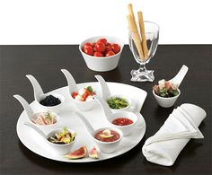 Elegant way to serve appetizers. Beautiful dinnerware from Villeroy & Boch.