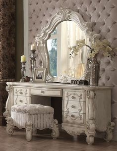 Acme 21137 Versailles 3Pcs Bone White Dresser Vanity Set Stool Mirror