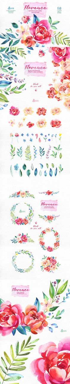 Clip Art Feminine / Girly Graphics / PNG / Stock Images for Wedding Invitations or Party Invites, watercolor floral flowers pink