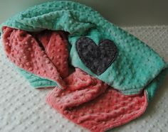 Coral and Mint Baby Blanket by TheAmberRoseEmporium on Etsy, $32.95