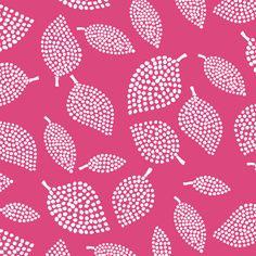 Mormor Leaves Rubine Fabric