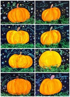 fall art projects for elementary students Halloween Art Projects, Theme Halloween, Fall Art Projects, School Art Projects, Kindergarten Art, Preschool Art, Kids Art Class, Art For Kids, Art Plastique Halloween