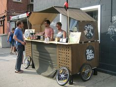 Kickstand, Brooklyn. These guys fold this portable coffee shop up so it fits on two bikes... Amazing!