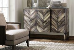 Natural wood credenza cabinet - Love the chevron pattern