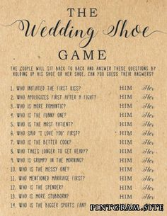 Play this fun game at your bridal or wedding shower by placing two chairs back t. - Play this fun game at your bridal or wedding shower by placing two chairs back to back in the middle or front of the room. The bride will sit in one c. Shoe Game Questions, Newlywed Game Questions, Bride And Groom Game Questions, Wedding Games Questions, Bridal Shower Decorations, Wedding Decorations, Wedding Centerpieces, Shoe Game Wedding, Wedding Games For Guests