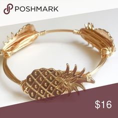 Gold pineapple wire wrap bangle Gold pineapples on gold wire, measure 7 1/2 inches around, can customize size per request Immeasurably More Jewelry Bracelets