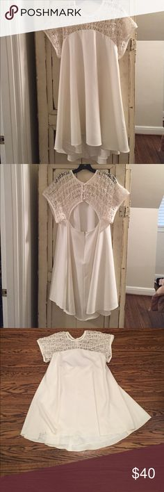 Milly white raffia dress White dress with flowing layers and yoke made of straw-like material. Key hole back with three buttons. There are two small makeup smudges that are not noticeable when the dress is on. I never tried getting it cleaned. Price more than makes up for condition. I bought it for wedding showers and would wear it again in a second if I had an occasion! Milly Dresses High Low