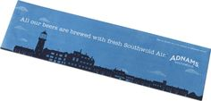 """Adorn your bar with our wonderful Adnams Southwold skyline bar runner featuring our slogan """"All our beers are brewed with fresh Southwold air"""""""