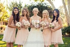 Short/Mini Pink Chiffon Ruffles Lace-up Sweetheart Bridesmaid Dress - dressesofgirl.com