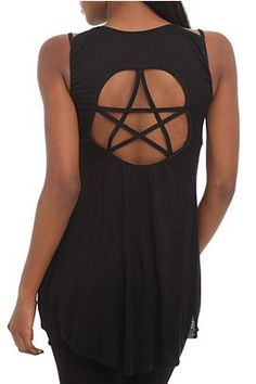 Dresses Pagan Wicca Witch: Witchy black pentacle dress.