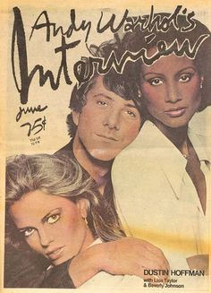 This is just strange! Dustin Hoffman, Beverly Johnson and Lisa Taylor - Interview Magazine (1976)