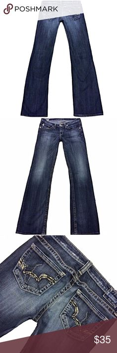 "Big Star ""Sweet Low Boot"" SZ 29L Dark Inseam 33.5"" Cute pair of Big Star ""Sweet Low Boot"" Women's SZ 29L Dark Stretch Blue Jeans Long Inseam 33.5"". Slight Wear on hem and slight between thighs on seam Measurements: Waist: 31"" Hips: 38"" Front rise: 8.5"" Back rise: 14"" Inseam: 33.5"" Big Star Jeans Boot Cut"