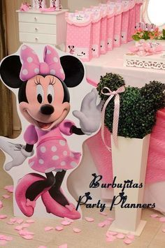 Pink and black polka dot Minnie Mouse birthday party! See more party ideas at CatchMyParty.com!